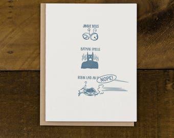 Jingle Bells, Batman Smells - Christmas Letterpress Card