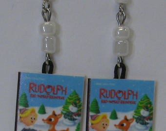 Rudolph Mini Book Earrings E284