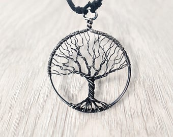 Wire Wrap Jewelry Tree-Of-Life Pendant Silver Necklace Protection Amulet Treeoflife Necklace Wired Silver Pendant Gift For Women Family Tree