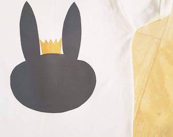Short sleeved 'majestic bunny' cotton t-shirt