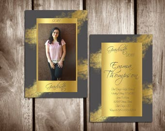 Printable Graduation Announcement/High School Graduation Invitation Template/College Graduation/Class of 2018/Grad Announcement/Gold + Gray