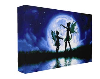 Large Silhouette Blue Fairies In Moonlight Canvas Print Wall Art Ready To Hang Or Poster Print