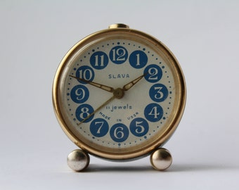 Soviet clock. Alarm USSR. Mechanical alarm. Vintage clock SLAVA. Working.
