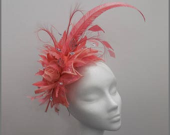 Royal Ascot, elegant bespoke coral feather fascinator, made to order, church hat, Kentucky Derby, floral headpiece, hat for wedding party