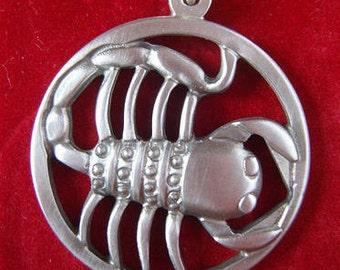 Danish Modern Scorpio necklace by Jorgen Jensen pewter