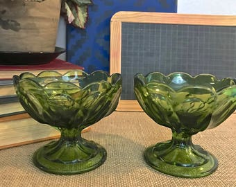 Set of Two Vintage Pressed Green Glass Dessert Bowls