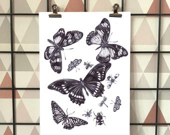 Black and White Butterfly Pen Drawing, Nature Illustration, A4 A5 Print, Wall Decor