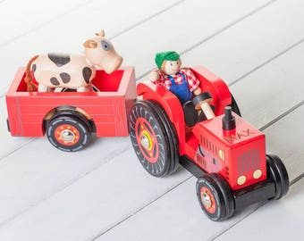 Personalised Red Wooden Tractor Toy