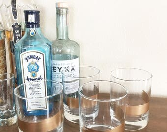 Gold Leaf Brushstroke Whiskey (Rocks) Glasses/Tumblers