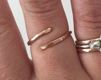 Adjustable ring - wrap ring - hammered ring - gold - rose gold - silver
