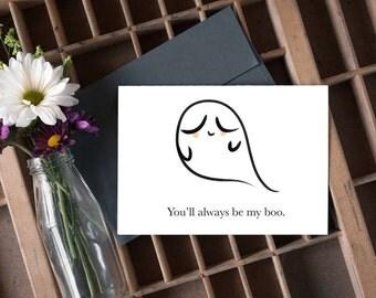 happy halloween card, ghost card, my boo, my boo card, autumn card, fall card / SKU: LNFH01