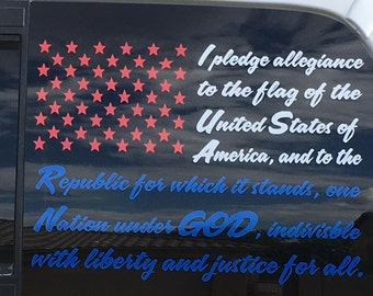 Pledge Of Allegiance Vinyl Decal      *Please comment on the 3 colors you want if chosen/paid*