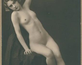 Blondette Illumes the Night   Nude Studio Portrait   1920's French Erotic Postcard   Mandel   Slender   Fingerwaves   Art Deco Erotica  