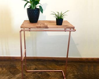 Sidetable Nightstand Copperpipe Copper Wood Table Oak Shelf Industrial DIY