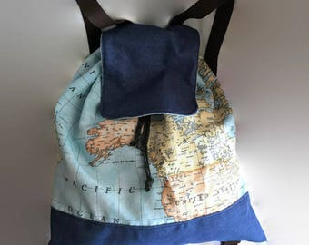 World map backpack, blue denim cotton backpack, made in spain, jeans casual backpack, drawstring backpack, denim rucksack, hippie backpack