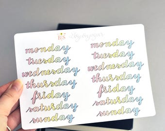 Days of the week hand lettered planner stickers in Rainbow, Pastel, LGBT colours