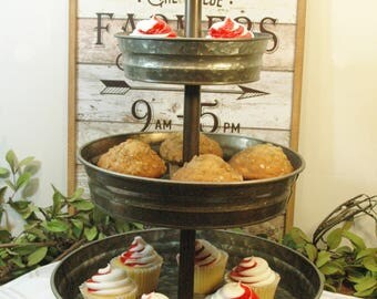 Galvanized 3 Tier Tray Stand, Farmhouse table centerpiece, Galvanized metal tray, Metal Stand, Cake tray, Cupcake stand, Farmhouse kitchen