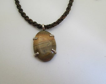Pendant, necklace, sterling, leather