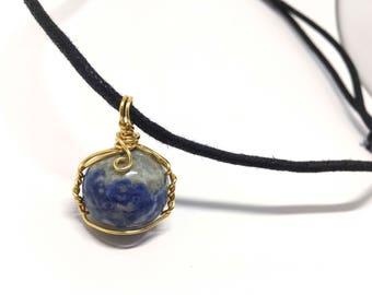 Lapis Lazuli - Marble Collection - Lapis Lazuli stone - Wire Wrapped w/ 20ga Bronze Wire