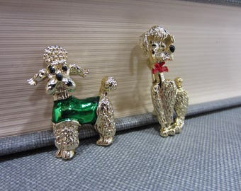 Two Adorable Gold-Tone Poodle Brooches