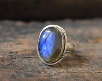 size-7us blue labradorite ring,natural blue labradorite,92.5 silver ring,labradorite ring,labradorite cabochon ring