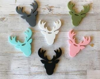 Reindeer Teether, Deer Head Teether, Deer Teether, Silicone Teether, Baby Shower Gift, Pacifier Clip, Teether Clip, Gift for Teething Baby,