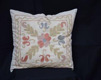Suzani Cotton pillow cover Set pilow cover Embroidery pillow cover Pastel pillow cover Ethnic pillow cover Bed pillow cover Couch pillowU-11
