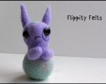 Felted Fiercy - 'Jump': adorable ooak needle felted monster companion