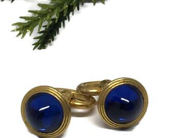 Art Deco Sugarloaf Sapphire Blue Glass Cabochon Cufflinks