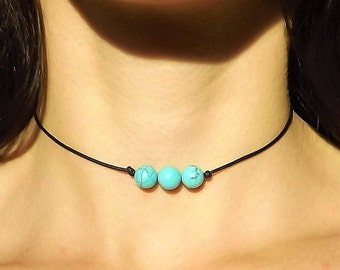 Turquoise Choker Necklace - Magnesite Necklace - Leather Turquoise Necklace - Beaded Choker - Triple Stone Choker - Leather Choker December