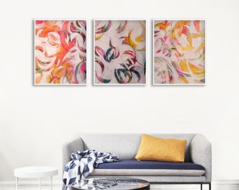 Printable Painting Set, Abstract Painting Printable Decor, Set of 3 Abstract Printables, Large Living Room Printable Art, Wall Art Package