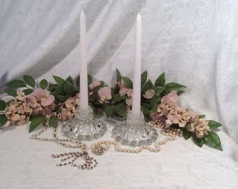 """Anchor Hocking Berwick """"Boopie"""" Taper, Candlestick Holders, Clear Glass, 1950's"""