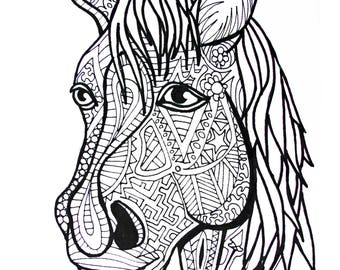 Zentangle horse Etsy