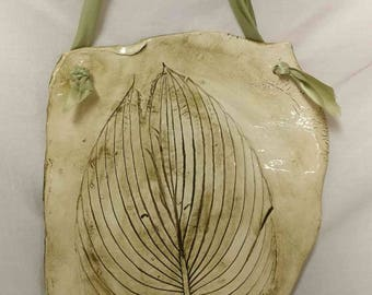 Hosta Leaf Ceramic Plaque
