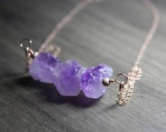 raw amethyst necklace, rose gold raw amethyst necklace, raw amethyst jewelry, amethyst rose gold jewelry, amethyst nugget necklace, amethyst