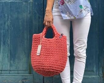 Scandinavian Style Crochet Bag Knitted Handbag SALMON color