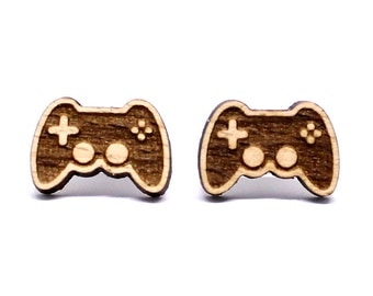 Wooden earring studs gamer controller gaming