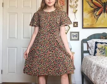 Vintage 70s // Brown Floral Dress