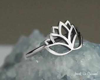 Sterling Silver Lotus Ring Solid .925 Blossom Flower Ring Custom Sizes
