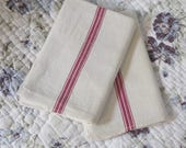 Pair of old linen towels ...