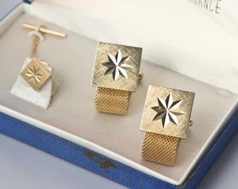 Vintage Goldtone Starburst Cufflink and Tie Tack Set by Tradition