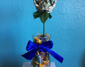 Single Money Rose with Glass Vase Filled with Candy