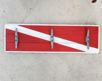 Dive Flag Cleat Rack, Patio towel hooks, Coastal Wall Hook Rack, Dock Cleat Rack, Coastal Decor, Shark Week Art