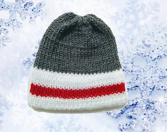 Youth - Adult Knit Skull Cap with Stripe