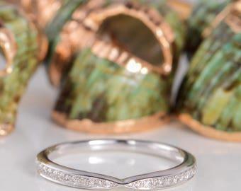 Wedding Band Women Diamond Eternity Band Stacking Ring White Gold Wedding Ring Simple Anniversary Promise Gift Engraving Dainty Minimalist