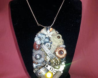 One of a Kind Rustic Steampunk Junk Art Necklace