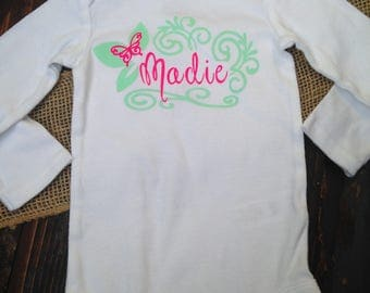 Personalized baby girl onesie, custom baby onesie, personalized baby shower gift, custom girl onesie