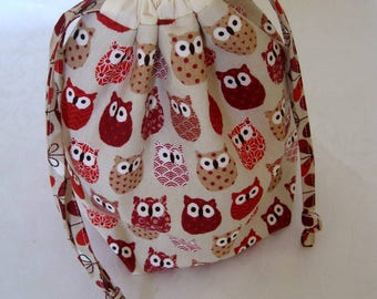 Owl knitting project bag, knitting bag, tote bag, knitting organizer, sock project bag.