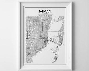 Miami map print Miami print Miami map poster Florida poster Black and white map Miami instant art Miami map Miami city map Black and white