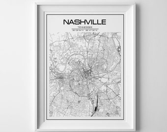 Nashville Map Print Tennessee Poster United States Map Nashville City Map Tennessee